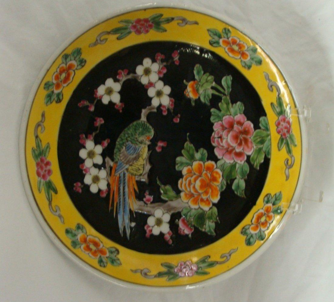 Enamel On Porcelain Floral Bird Cabinet Plate