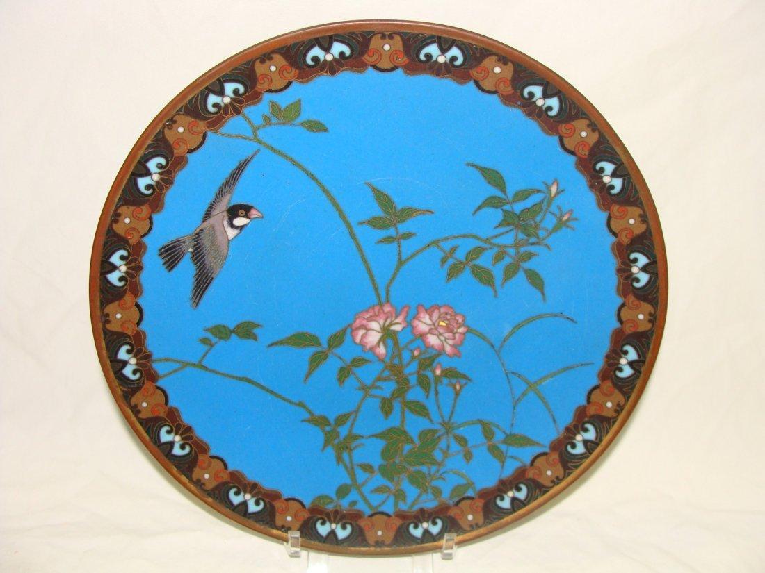 Enamel On Copper Bronze Cloisonne Cabinet Plate