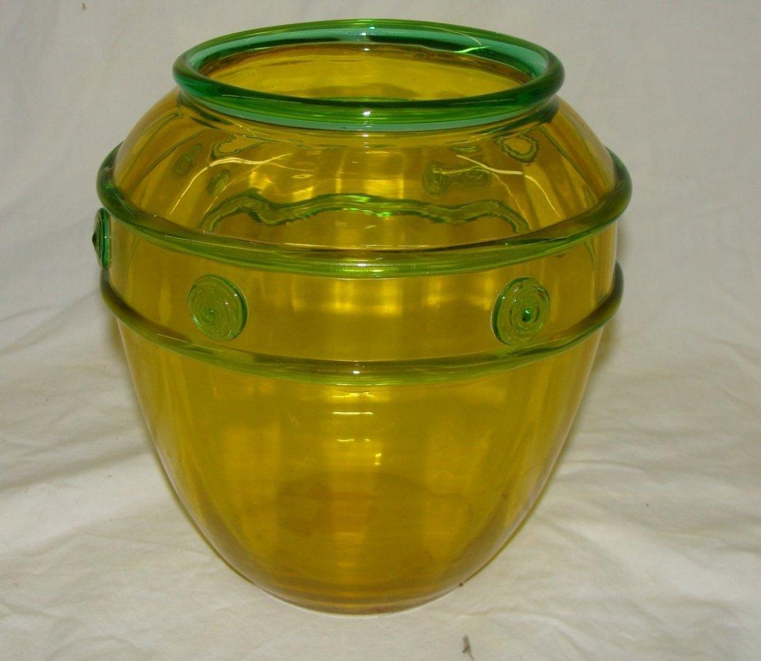 Signed Steuben Vase w Applied Emerald Trim