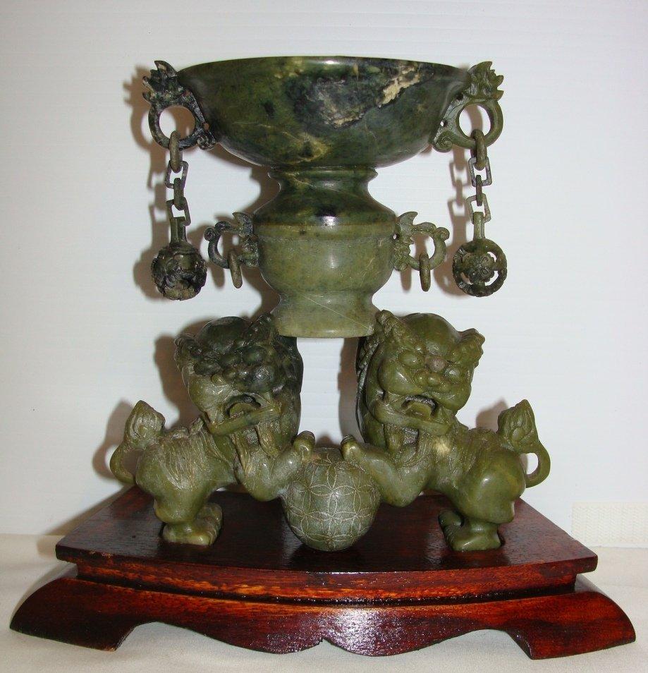 Antique Jade Carved Foo Dog Burner Vessel Vase
