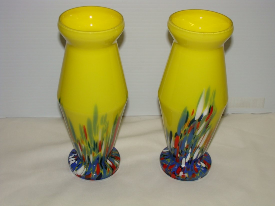 Pair Kralik Czech EOD Splatter Vases