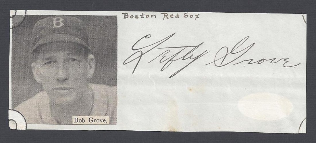 Early Lefty Grove Signed Cut Signature
