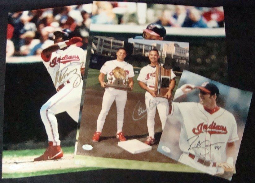 Lot of (3) Cleveland Indians Single Signed Photots,