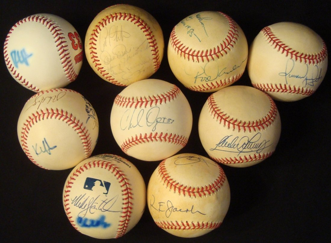 Lot of (9) Baseballs Signed by Various Cleveland