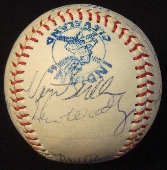 Official Cleveland Indians Old Timers Multi-Signed