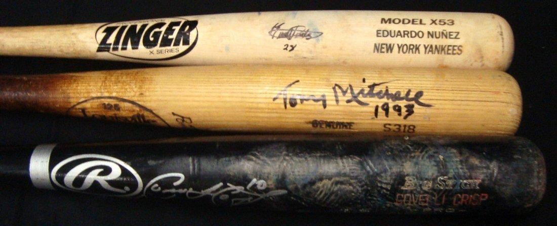 Trio of Game Used Signed Bats - Crisp, Nunez, Mitchell