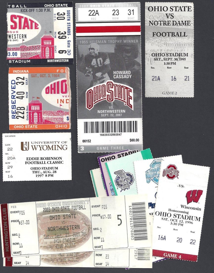 Lot of (10) Ohio State Football Game Ticket Stubs Incl