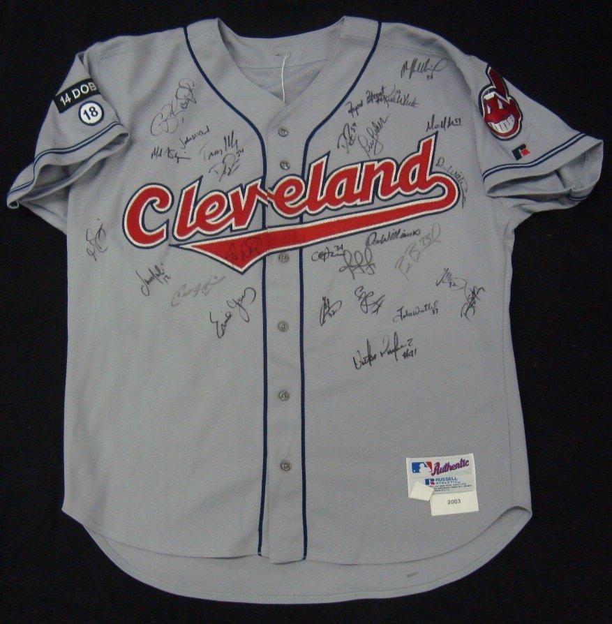 2003 Cleveland Indians Team Signed Jersey, (26)
