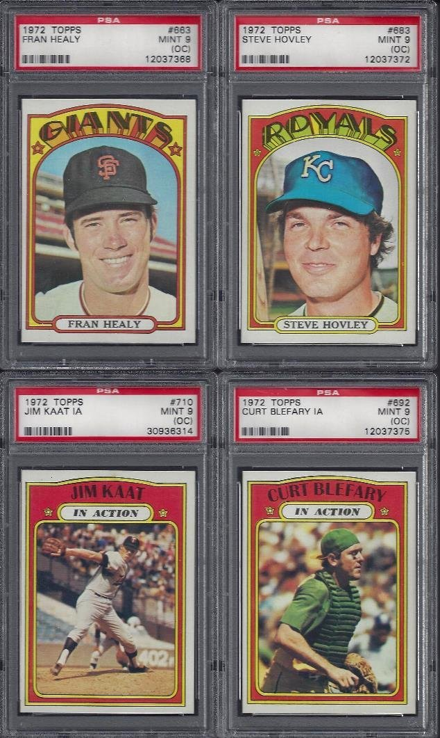 Lot of (8) 1972 Topps Graded High Number Cards, All PSA