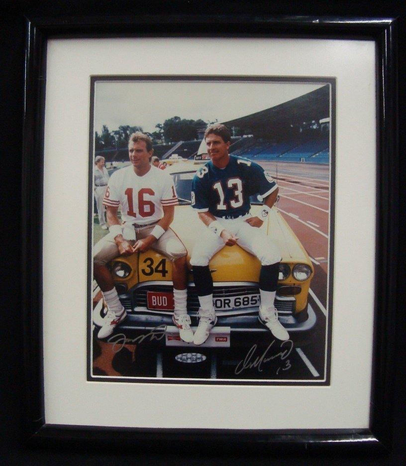 Joe Montana and Dan Marino Autographed 8x10 Matted and