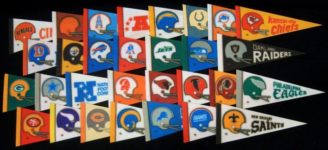 Collection of 1980's Football Mini Pennants, (30) AFC,
