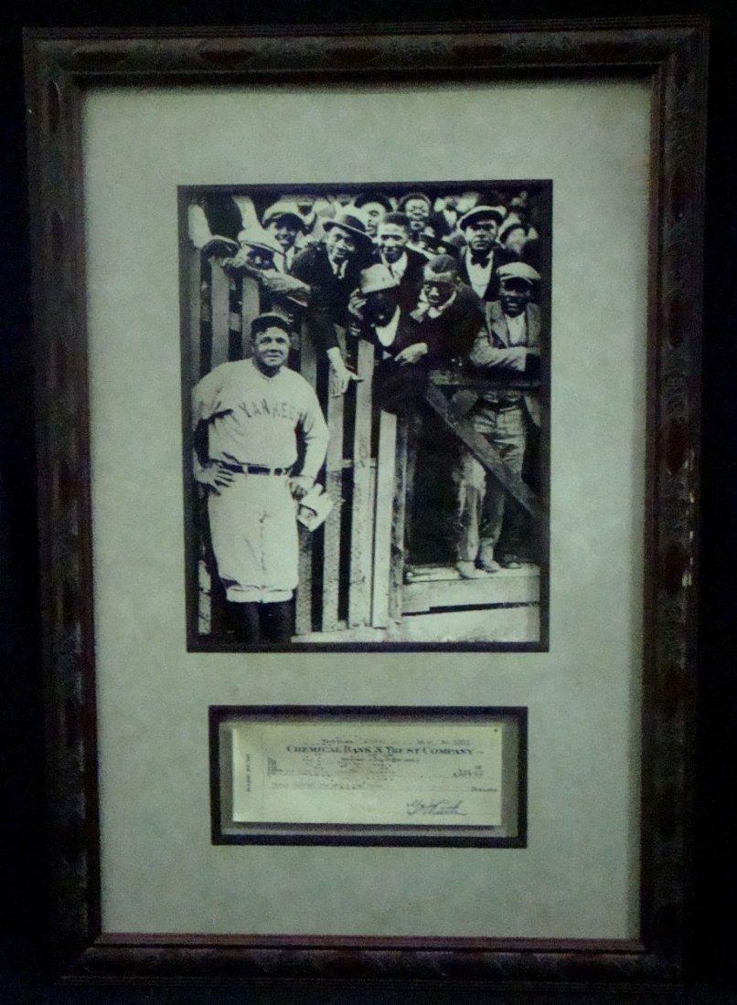 1942 Babe Ruth Signed Bank Check Display, JSA LOA