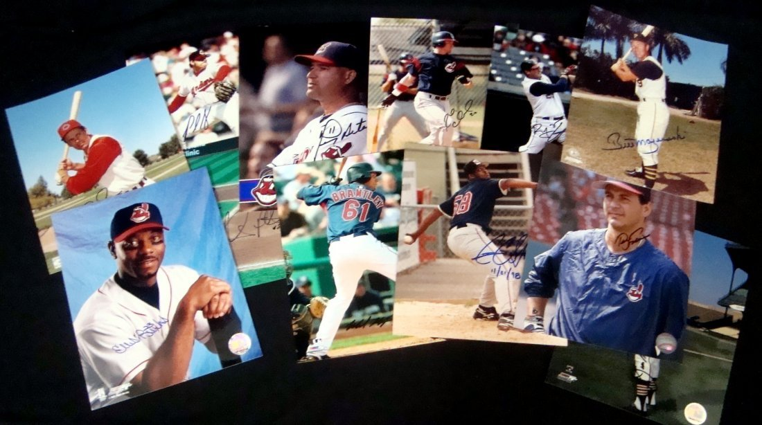 Lot of (12) Autographed Cleveland Indians 8x10