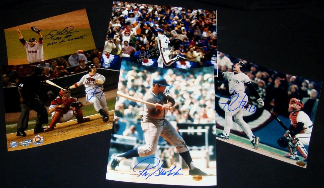 Lot of (5) World Series Champs Single Signed 8x10