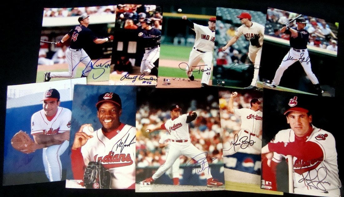 Lot of (10) Autographed Cleveland Indians 8x10