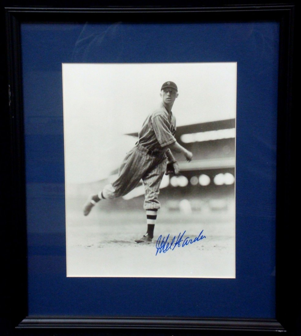 Mel Harder Signed Matted and Framed Photograph