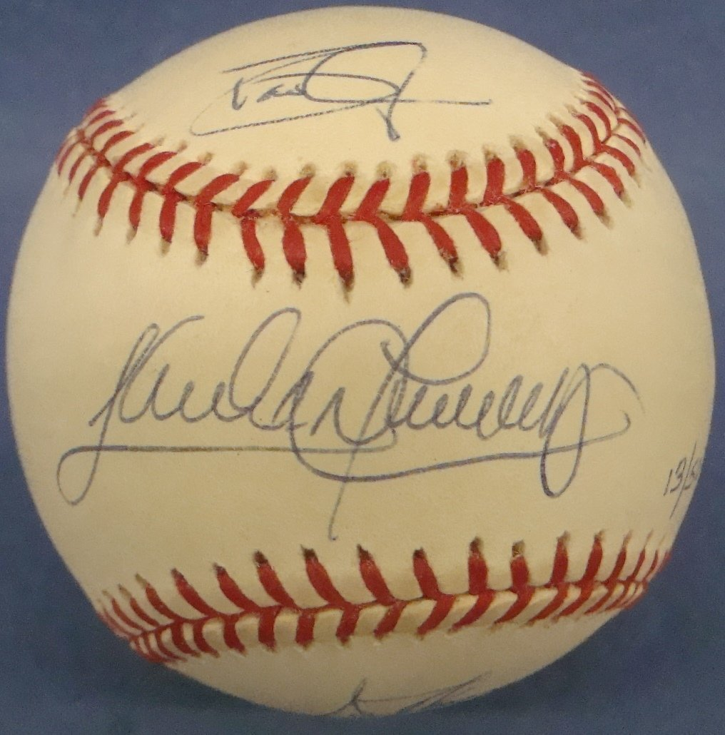 1997 World Series Game Ball Triple Signed Alomar,