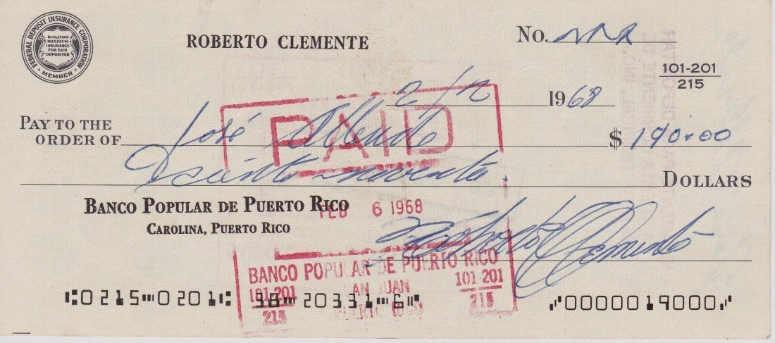 Roberto Clemente Handwritten Signed Personal Check, JSA
