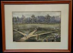 Currier  Ives Elysian Fields Framed Vintage Baseball