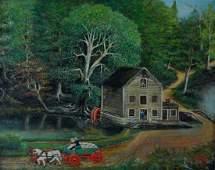 1936 Oil On Canvas Pennsylvania Rural Landscape