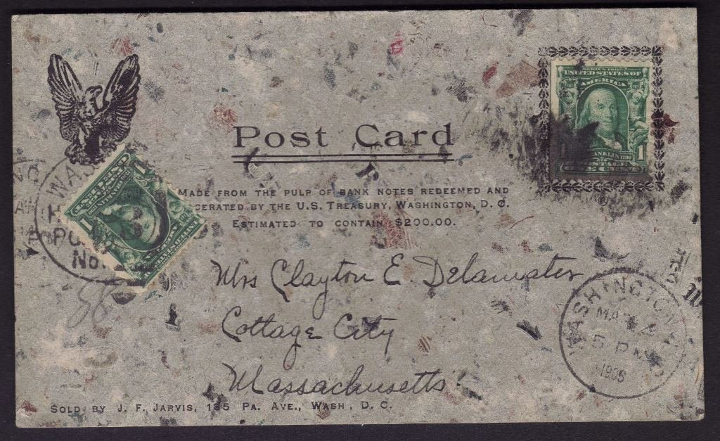 Rare J.F. Jarvis Used Macherated Money Pulp Post Card