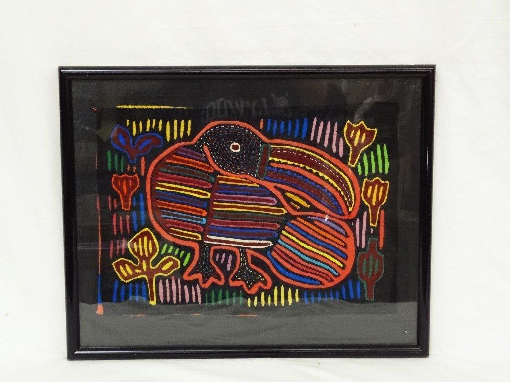 Framed Cloth Mola Art from Kuna Tribe of Panama