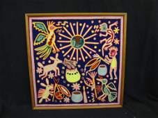 Huichol Indian Peyote Dream Yarn Painting on Wood by