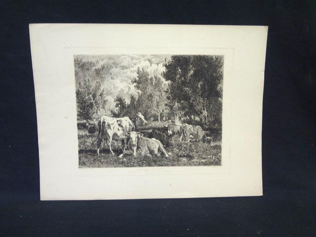 "Original Etching ""Landscape and Cattle"" Peter Moran"