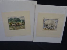 """(2) Susan Hunt-wulkowicz Hand Colored Etchings """"country"""