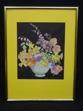 William Joseph Eastman Watercolor Still Life Vase With