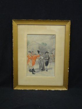"""H.a. Ogden Hand Colored Lithograph Early 1900's """"quaker"""