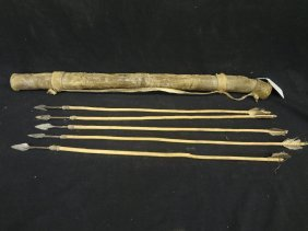 African Rawhide Quiver And Arrows Circa 1950's