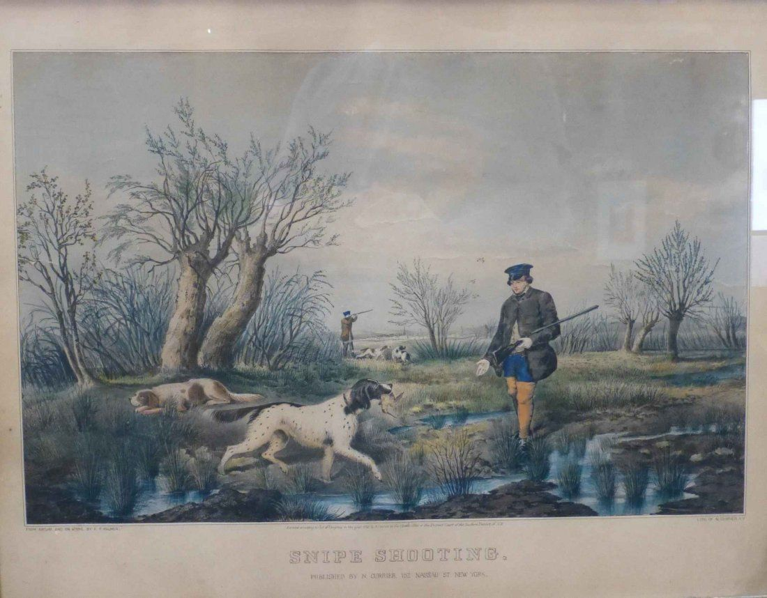 Snipe Shooting From Nature, 1852 Currier & Ives