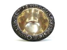 S Kirk  Son Repousse Sterling Footed Mayonnaise Bowl