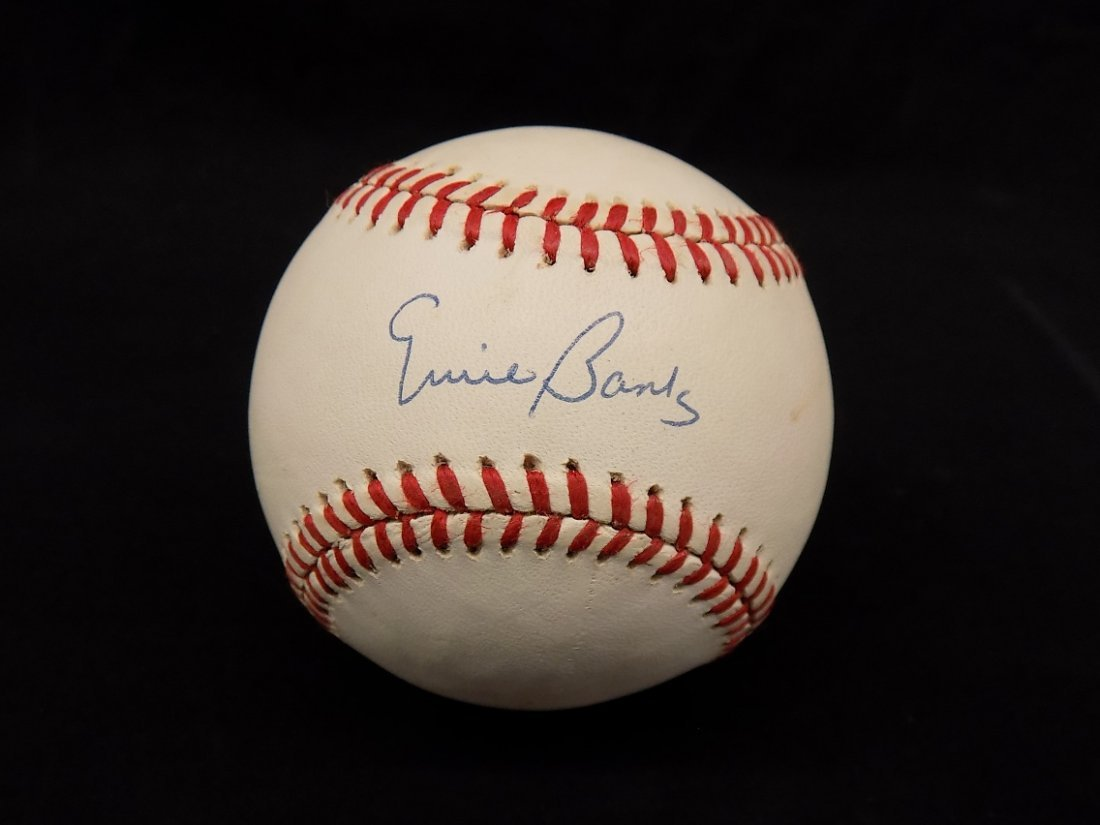 Ernie Banks Autographed signed William White Baseball