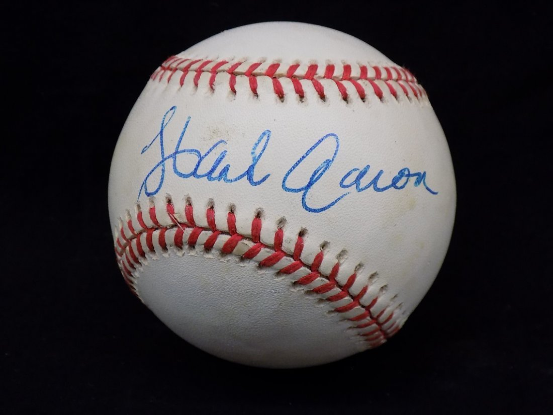 Hank Aaron Autographed Official National League Coleman