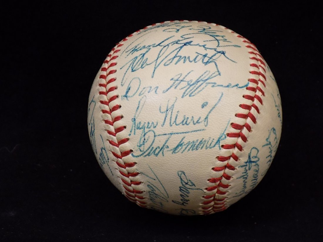 1958 Kansas City A's Autographed Team Reach Baseball