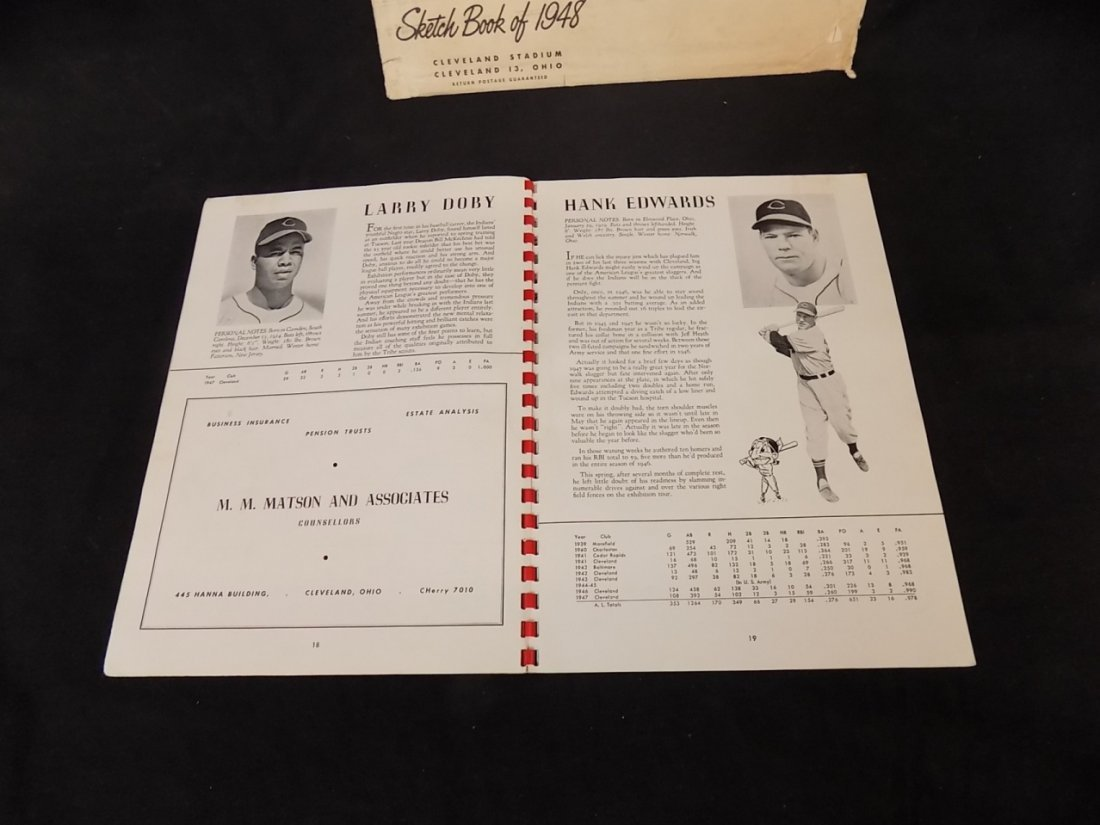 Vintage 1948 Cleveland Indians Sketch Book Yearbook - 2