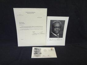 ?clarence Thomas÷ (3) Autographed Pieces. Letter,