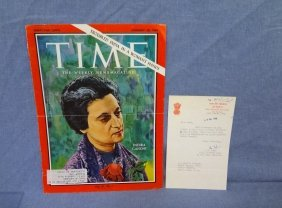 Indira Gandhi Autographed Time Magazine Cover 1-28-66