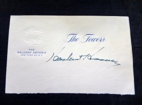 ?herbert Hoover÷ Cut Signature On Waldorf-astoria