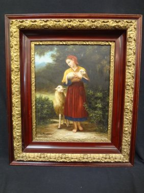 Original Oil On Canvas Reynolds Portrait Of Woman And