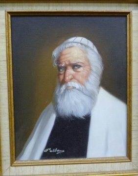 "David Pelbam Original Oil On Board ""rabbi Portrait"""