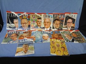 (15) Business Leaders Autogrpahed Time Magazine Covers