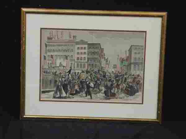 Harper's Weekly Hand Colored Engraving Matted and
