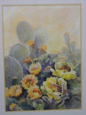 """Martha Blocker Original Watercolor """"cacti And Flowers"""""""
