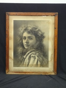 Large Framed Photograph Of Early Stage Actress Maude