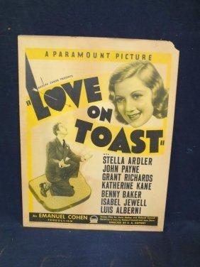 """1937 Original Movie Lobby Poster """"love On Toast"""""""