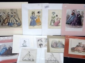 (15) Early 1800's Original Engravings Of Ladies