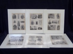 "(6) Original Woodcuts From ""the Pictorial Gallery Of"